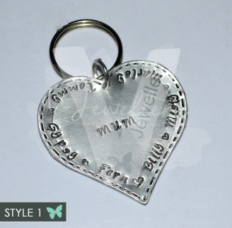 Personalised Stitched Effect Large Heart Keyring *2 Styles Available*