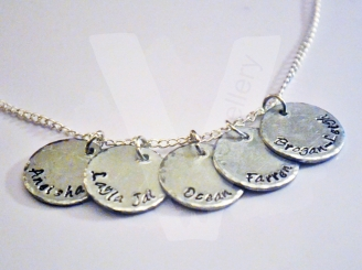 Personalised Hand Stamped Disc Charm Pendant 18-20""