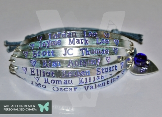Personalised 7 Multi-Plate Hand Stamped Bracelet