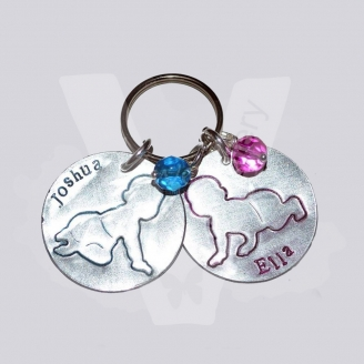 Personalised Baby Hand Stamped Disc Keyring / Bag Charm