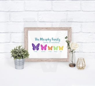 Personalised A4 Silhouette Butterfly Family Print
