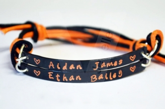 Personalised Colored Multi-Plate Hand Stamped Bracelet