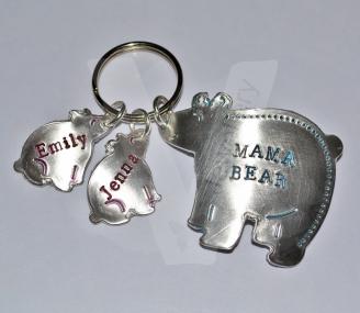 Personalised Hand Stamped Bear Keyring