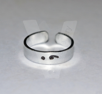 Semicolon Symbol Hand Stamped Band Ring
