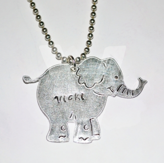 "Personalised Etched Elephant Pendant 20"" *Stainless Steel Chain*"