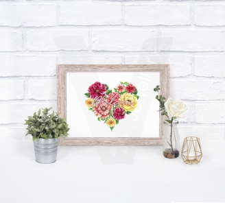Personalised Watercolor Floral Heart A4 Print