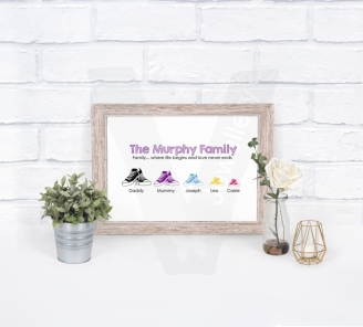 Personalised A4 Silhouette Footwear Family Print
