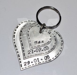 Personalised Stitched Effect Custom Shape Layered Keyring / Bag Charm