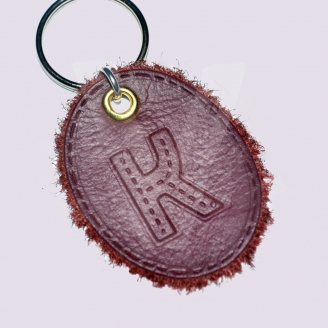 Personalised Stitched Effect Initial Genuine Leather Oval Keyring