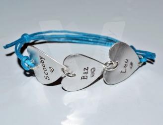 Personalised Hearts Link Adjustable Bracelet