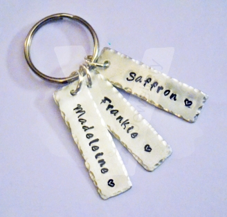 Personalised Mini Tags Hand Stamped Keyring *Hand Cut*