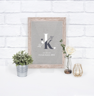 Personalised A4 Monogram Initials Canvas Style Print
