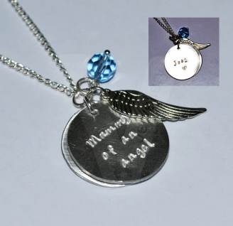 """Personalised """"Mummy of an angel"""" Double Charm Pendant ~ 20"""""""