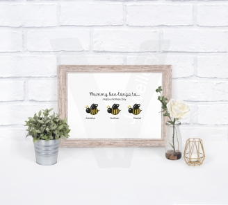 Personalised A4 Silhouette Animal Family Print
