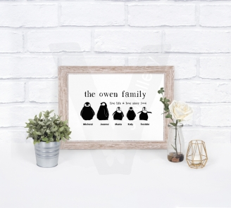 Personalised A4 Silhouette Penguin Family Print
