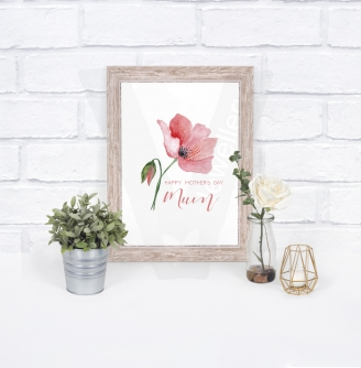 Personalised A4 Watercolor Poppies Print