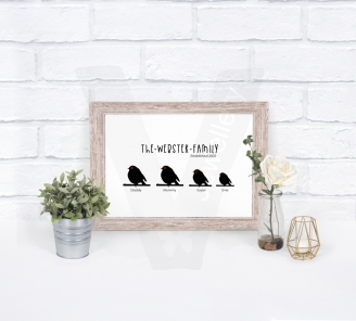 Personalised A4 Silhouette Robin Family Print