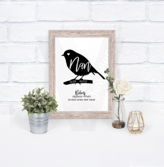 "Personalised A4 Robin Silhouette ""Name"" Print"