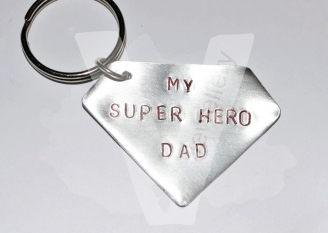 "Personalised ""My Super Hero"" Keyring *Hand Cut*"