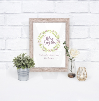 Personalised A4 Teachers Flowers Wreath Print