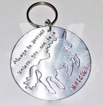 Personalised Etched Unicorn Extra Large Disc Keyring
