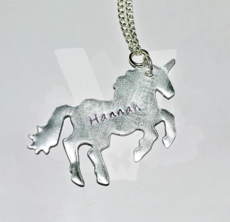 Personalised Hand Stamped Unicorn Pendant 20""