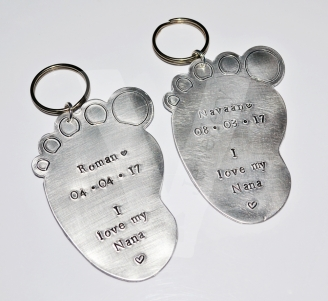 Personalised XL Baby Foot Hand Stamped Keyring