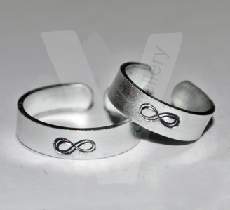 """Infinity Symbol"" Hand Stamped Band Ring"