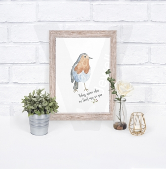 Personalised Watercolor Robin A4 Print