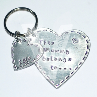 "Personalised ""belongs to..."" Stitched Effect Hearts Keyring"