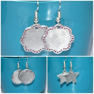 Stitched Effect Dangle Custom Shape Earrings