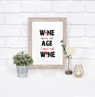 """I improve with Wine"" A4 Silhouette Print"