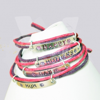Personalised Wrap Multi-Plate Hand Stamped Bracelet