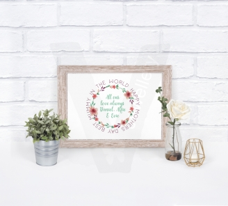 Personalised Watercolor Floral Wreath A4 Print