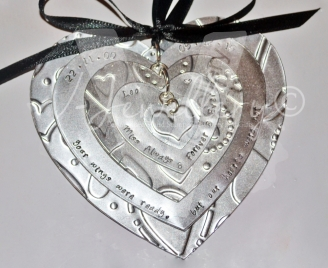 Personalised Embossed Extra Large Heart Layered Hanging Keepsake