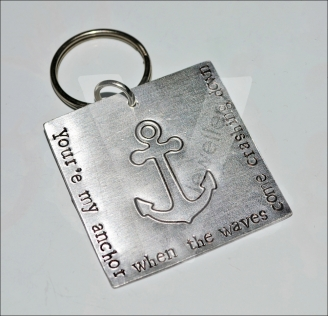 Personalised Etched Anchor Large Keyring