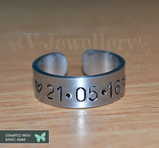 Personalised Hand Stamped Band Ring *BIG and BOLD*