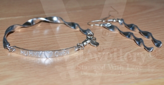 Personalised Spiral Bangle & Earring Gift Set