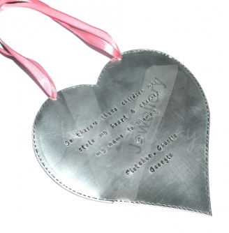Personalised Stitched Effect XXL Heart Keepsake Plaque