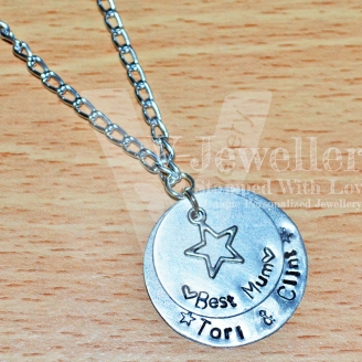 Personalised Double Layered Charm Pendant 18-20""