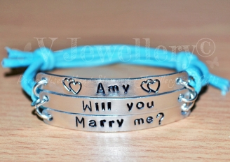 """Proposal """"Will you Marry Me?"""" Hand Stamped Bracelet"""
