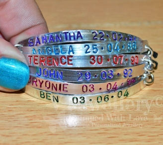 Personalised 6 Multi-Plate Hand Stamped Bracelet