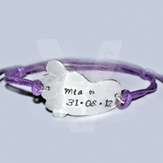 Personalised Large Embossed Baby Foot Bracelet