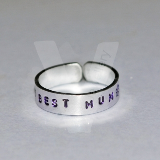 Best Mum Hand Stamped Band Ring