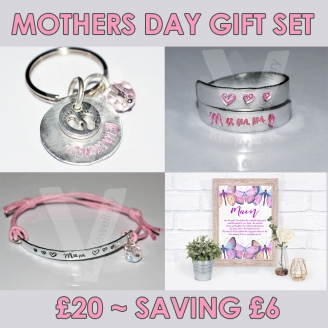 Mothers Day Gift Set - 2 Wrap Ring... Bracelet... Keyring & Print