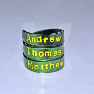 Personalised Colored Hand Stamped Ring