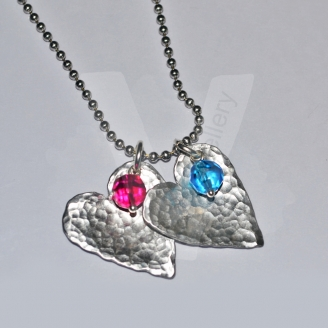 "Personalised Textured Hammered Heart Bead Pendant 20"" *Stainless Steel Chain*"
