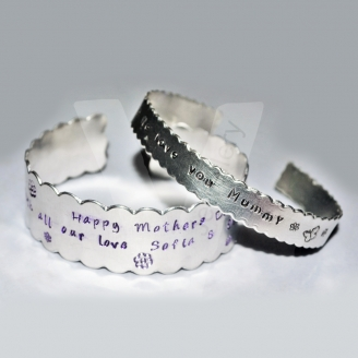 Personalised Scalloped Hand Stamped Cuff Bangle