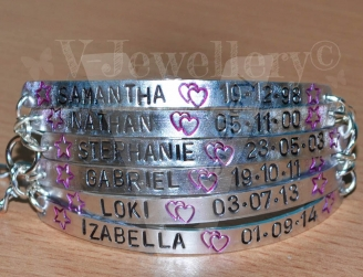 Personalised Multi-Plate Hand Stamped Chain Bracelet