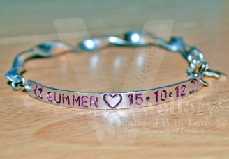 Personalised Spiral Hand Stamped Bangle